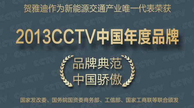 雅迪荣获2013CCTV中国年度品牌