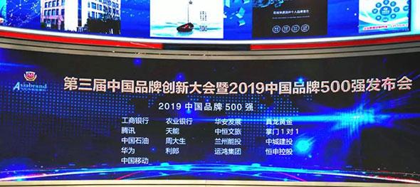 天能荣登2019中国品牌500强,排名高居行业第一